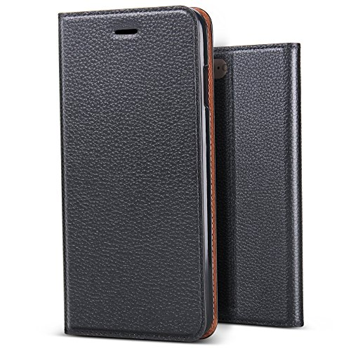 B BELK Premium Soft Leather Slim Wallet Case Classic Magnetic Folio Flip Cover with Credit Card Slots Flexible TPU Bumper Case (Black, iPhone 8 Plus/iPhone 7 Plus - 5.5)