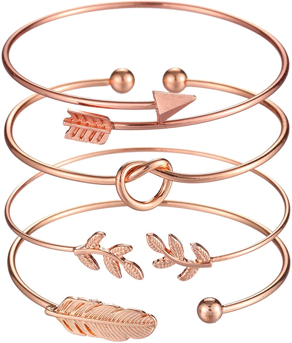 Starain 4Pcs Rose Gold Bracelets for Women Girl Simple Leaf Arrow Feather Knot Heart Bangle Bracelet Adjustable Cuff Bracelet Set