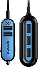 RapidX X5 Car Charger with 5 USB Ports for iPhone and Android Blue
