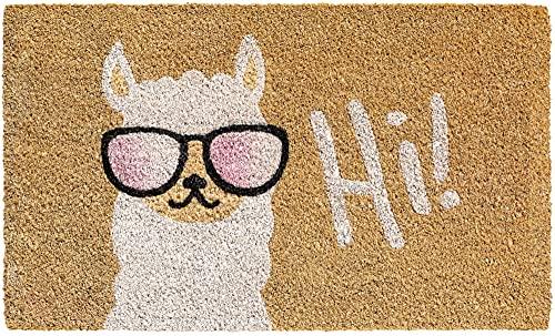 Matches21 - Felpudo de coco para interiores, multicolor, con texto 'Lama & Hi!', 40 x 60 cm