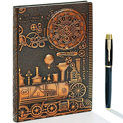 Diario de escritura de cuero en relieve vintage 3D con juego de bolígrafo de diamante, A5, 200 páginas, cuaderno de bocetos, diario de viaje y cuaderno para escribir, para...