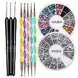VAGA Kit para hacer nail art, accesorios y herramientas para decorar uñas, set de 3 brochas, 5 plumas punteadoras y piedras, diamantes para hacer decoración 3D, manicura profesional para uñas de gel