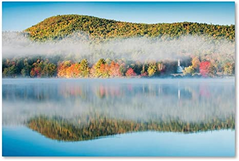 Amazon Com Fog On Crystal Lake By Michael Blanchette Photography 16x24 Inch Canvas Wall Art Posters Prints