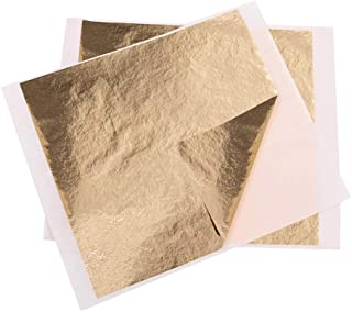 """VGSEBA Gold Gilding Leaf Sheets, 5.11"""" by 5.31"""" Champagne Gold Foil for Paintings, Arts Crafts, Nail Deco(100 Sheets"""