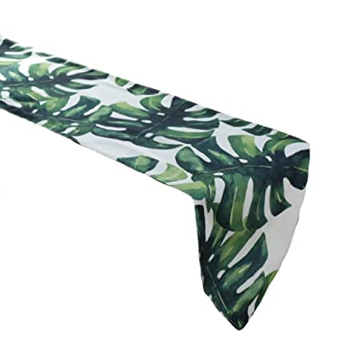Cheerhunting Palm Leaf Table Runner, Durable Green Tropical Palm Leaf Pattern, Machine Washable Fabric Table Runner for Kitchen Décor, 12  W71 L, Dining & Coffee Table Décor