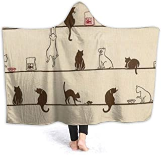 Comfy Soft Hoodie Throw Wrap Cover for Bed Couch Chair Living Room, Large Throw Wearable Cuddle Super Warm Sherpa Flannel Travel Blanket (Cute Cat Eat On The Line Novelty Necktie Tie Choker Blankets)