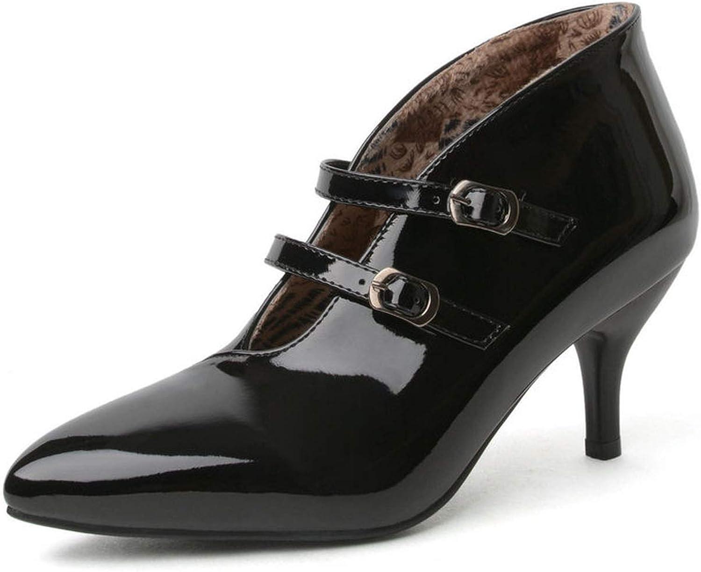 Meiguiyuan 2019 Women Pumps Buckle Thin High Heels shoes Concise Pointed Toe PU Women shoes