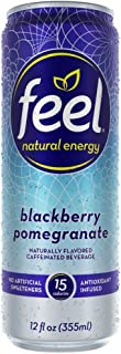 FEEL Natural Energy Drink, Low Calorie, Vegan, Gluten Free, Non-GMO, Healthy Energy Drink for Energy & Focus, Blackberry Pomegranate, 12 Fl Oz Cans (Pack of 12)