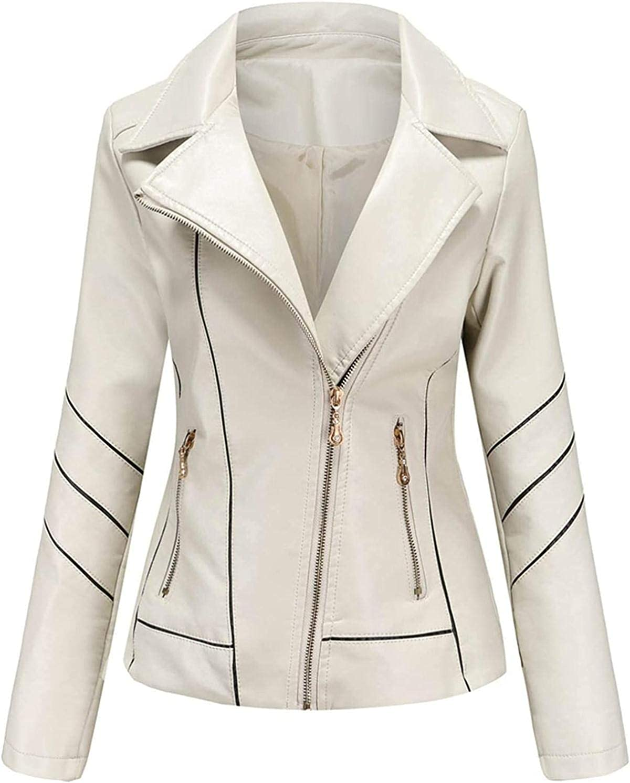 Faux Leather Jacket Women Motorcycle Fall Trendy Zipper Jackets Slim-Fit Cropped Tops Thin Punk Coats Blazer