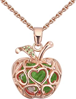 NaNa Rose Gold Plated 3D Christmas Fruit Apple Pendant with Swarovski Element Crystal Necklace Fashion Jewelry for Women