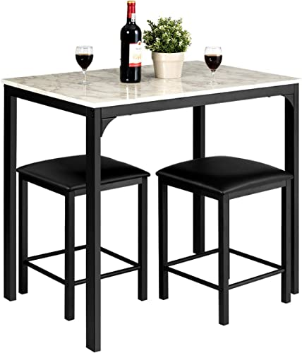 popular Giantex new arrival 3 Pcs Dining Table and Chairs Set with Faux Marble Tabletop 2 Chairs Contemporary Dining Table Set for Home or Hotel Dining sale Room, Kitchen or Bar (White & Black) sale