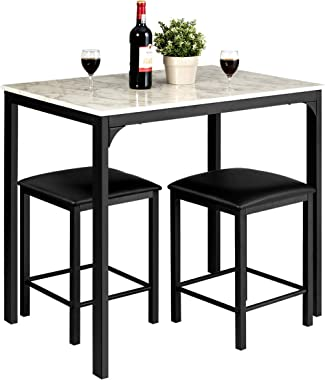 Giantex 3 Pcs Dining Table and Chairs Set with Faux Marble Tabletop 2 Chairs Contemporary Dining Table Set for Home or Hotel