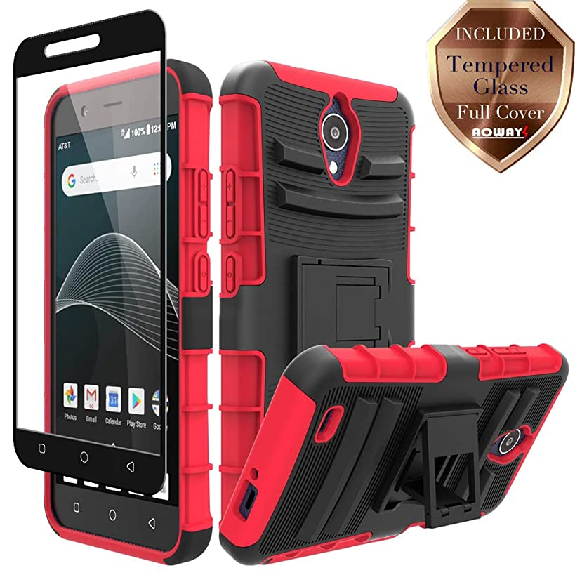 AT&T AXIA QS5509A Case, Cricket Vision DQON5001 Case, Aoways Tempered Glass Screen Protector, Heavy Duty Hard PC Back Cover Soft TPU Inner Kickstand Protective Case for AT&T AXIA QS5509A - Red