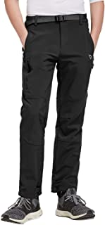 BALEAF Boy's Unisex Hiking Pants Mountain Trousers Fleece Lined Water-Resistant Kids Outdoor Insulated Soft Shell Ski Pants