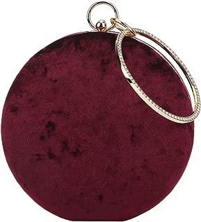 Velvet Clutch Round Bag Rhinestone Purses For Women