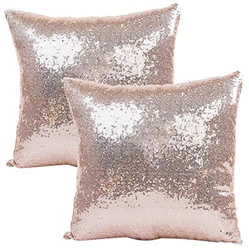 JOTOM Funda de Almohada con Lentejuelas con Brillo de Color sólido, Funda de cojín Cuadrada para sofá, decoración para el hogar, 40x40 cm, Juego de 2 (Oro Rosa)