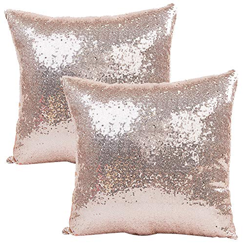 JOTOM Solid Color Glitter Sequin Pillow Case Cover,Square Cushion Cover for Sofa Car Home Decor,40x40cm,Set of 2 (Sequin|Rose Gold)