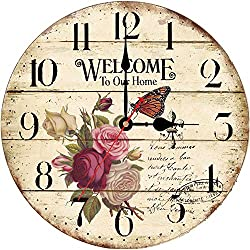 WISKALON Vintage Wall Clock,14 Inch Battery Operated Wall Clock,Silent Non-Ticking Indoor Clock,Round Wooden Decorative Wall Clock,Flower Butterfly Retro Wall Clock for Kitchen and Bedroom