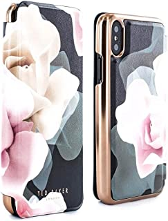 Ted Baker KNOWIT Mirror Folio Case for iPhone X/XS, Premium Folio Cover for Professional Women/Girls - Porcelain Rose (Black)