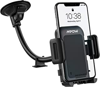 Car Phone Mount, Upgraded Windshield Car Phone Holder, Long Arm Washable Suction Cup Car Mount, One Button Release Clamp Compatible with iPhone 11 Pro MAX/XS MAX/XR/X/8/7/6Plus etc
