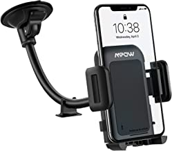 Mpow Car Phone Mount, Upgraded Windshield Phone Holder for Car, Long Arm Washable Suction Cup Car Cradle Compatible with iPhone 12 11 Pro Max, XS Max, XS, XR/X/8/7/6 Plus Etc