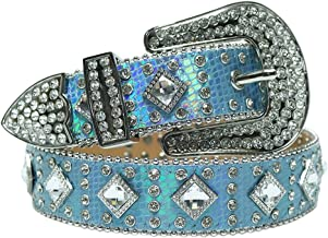 SSMDYLYM Diamond Studded Riem Rhinestones Riem Cowgirl Cowboy Strap Mannelijke Riemen (Color : Blue, Size : 44 inch)