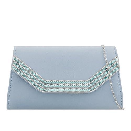 1b6b8093e001 Ladies Fabia Suede Envelope Clutch Bag - Women s Diamante Evening Bag Girls  Party Prom Handbag Purse