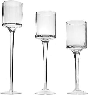 Maison & White Ensemble de 3 bougeoirs et bougeoirs Tea Light | Grand design élégant en verre | Idéal pour les mariages, l...