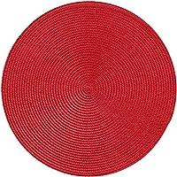 Mei-YY コースター 1ピースラウンドウォーフェンプレースマットPP防水ダイニングテーブルマット滑り止めナプキンディスクボールパッドドリンクカップコースター台所キッチン装飾 収纳 (Color : Red, Size : Round)