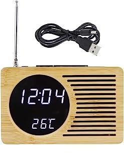 Okuyonic Radio-réveil FM, Double Alimentation Deux formats d'affichage Thermomètre Polyvalent Cadeaux Radio FM