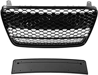 Qii lu Car Front Bumper/Hood Grille/Center Grill Honeycomb Mesh Main Grilles for R8 2007 2008 2009 2010 2011 2012 2013 (Black Grille)