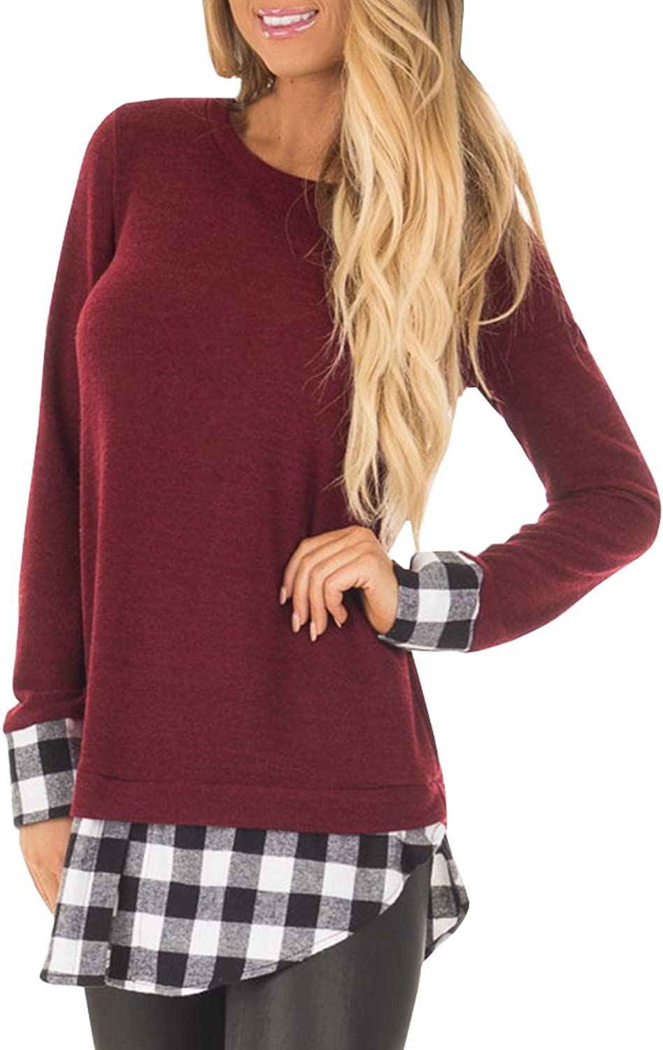 Saikesigirl Womens Tunic Top Plaid Hem Long Sleeve Casual Fall Crewneck Sweatshirt