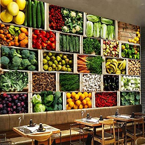 FSVGC Benutzerdefinierte Größe 3D Wandbild Tapeten Gemüsemarkt Obst Shop Poster Wandmalerei Restaurant Küche Foto Hintergrundbild