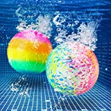 Hiboom Swimming Pool Toys Ball, Underwater Game Pool Ball Swimming Accessories for Under Water Passing, Dribbling, Diving and Teens Adults Pool Games Ball Fills with Water, Rainbow and Water Color