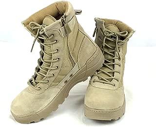 (K-JOY) ミリタリーブーツ タクティカルブーツ 迷彩 ライダーブーツ 作業靴 シューズ サイドジッパー サバゲ (43 約26.5cm, TAN)