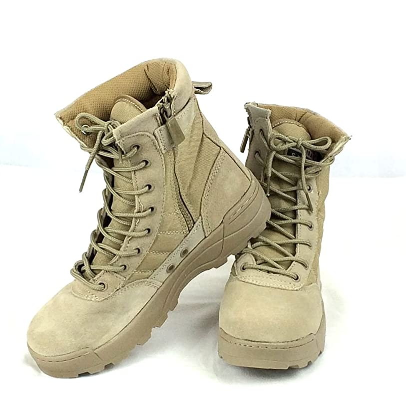 コンサートしつけ支援する(K-JOY) ミリタリーブーツ タクティカルブーツ 迷彩 ライダーブーツ 作業靴 シューズ サイドジッパー サバゲ (42 約26.0cm, TAN)