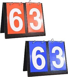Shangyuan Portable Flip Scoreboard - Score Board for Baseball Football Soccer Ping Pong Football Volleyball Basketball Table Tennis Track Field, Coach & Referee Gear (1 Blue 1 Red)