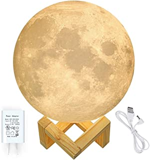 CPLA Moon Night Lamp, 3D Printing Moon Globe Light 7.1 Inch Glowing Unibody Moon Lamp 2 Colors with UL Adapter Decor Moon Light Home for Kids, Birthday, Christmas Day