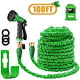 "Garden Hose Pipe 100FT Magic Expanding Hose with 3/4"" to 1/2"" Brass Fittings"
