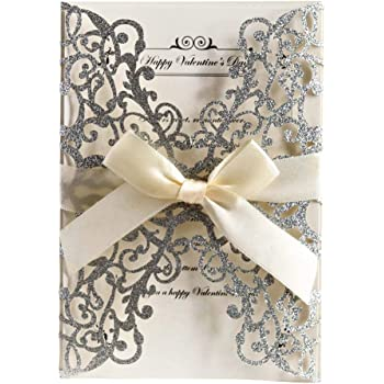 AdasBridal 50Pcs Glitter Floral Laser Cut Wedding Invitation Cards with Envelope Blank Inner Sheet and Ribbon for Wedding Engagement Bridal Shower Party Invite(7.09 X 4.92inch, Silvery)