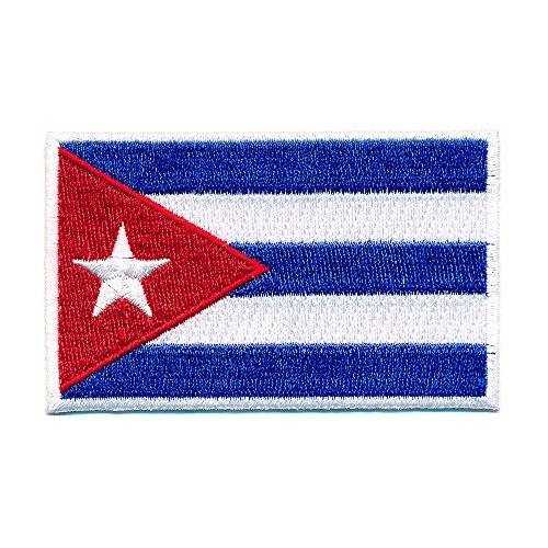 60 x 35 mm Kuba Flagge Karibik Havanna Cuba Flag Patch Aufnäher Aufbügler 0656 B