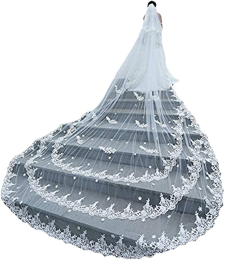 Fenghuavip 2 Tier Wedding Veils Cathedral Length Lace Appliques for Bride with Comb