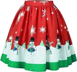 Women's Ugly Christmas Santa A-line Flare Short Swing Midi Pleated Skirt