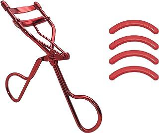 女性専門アイラッシュカーラー、 高級感ステンレス鋼ビューラー 4が付属しています替えゴムシリカゲル ラッシュリフトのまつげエクステに最適 (赤)