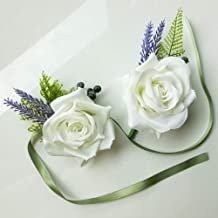 Djoyous Wedding White Rose Flower Wrist Corsage Boutonniere Set for Men Party Prom Hand Flower Decor