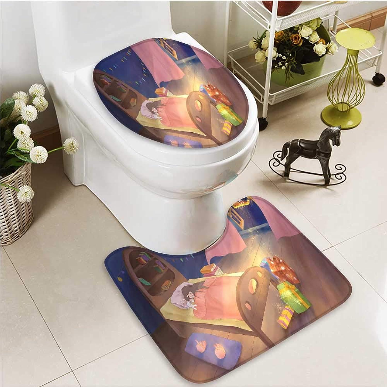 Printsonne Cushion Non-Slip Toilet Mat The Mysterious Gift Santa Claus Soft Non-Slip Water