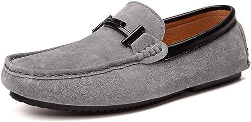 CHENDX Chaussures, Mocassins de Conduite pour Homme en Cuir véritable avec Semelle Souple Mocassins Vamp Penny (Couleur   gris, Taille   41 EU)