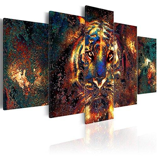 murando Acrylglasbild Abstrakt 200x100 cm 5 Teilig Wandbild auf Acryl Glas Bilder Kunstdruck Moderne Wanddekoration - Tiger Gesicht Tier Textur bunt g-B-0024-k-p