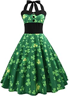 St. Patrick's Day, 2019 Clover Dress, Women's Halter Printed Bow Dress Casual Evening Party Prom Swing Dress