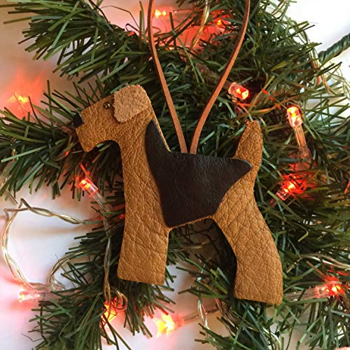 Airedale Terrier Dog Leather Hanging Ornament Xmas Decoration